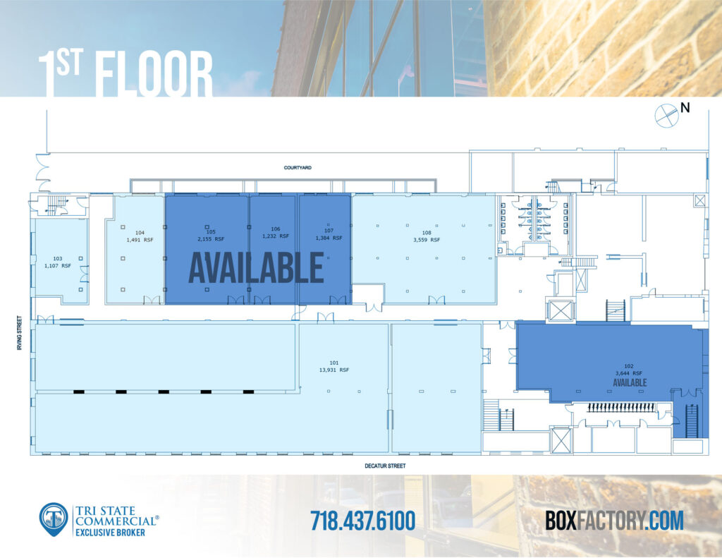 Box Factory - 1st floor available spaces plan